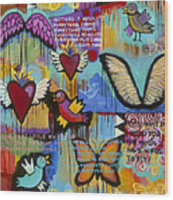 I Have Wings To Fly Wood Print by Carla Bank