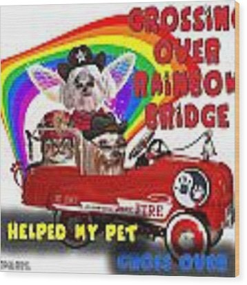 I Helped My Pet Cross Rainbow Bridge Wood Print by Kathy Tarochione