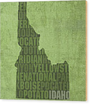 Idaho State Word Art Map On Canvas Wood Print