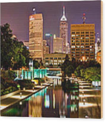 Indianapolis Skyline - Canal Walk Bridge View Wood Print