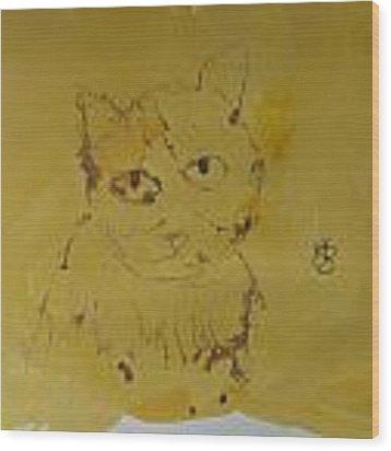 Inked Cat 2 Wood Print by AJ Brown