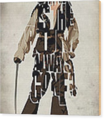 Jack Sparrow Inspired Pirates Of The Caribbean Typographic Poster Wood Print