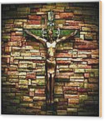 Jesus Is His Name Cream Border Wood Print by Al Harden