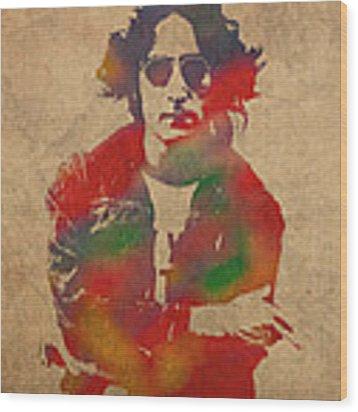 John Lennon Watercolor Portrait On Worn Distressed Canvas Wood Print
