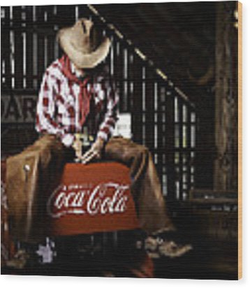 Just Another Coca-cola Cowboy 3 Wood Print by James Sage