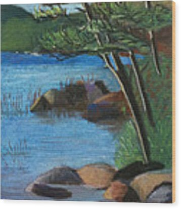 Lakeside Pines Wood Print by Jane Croteau