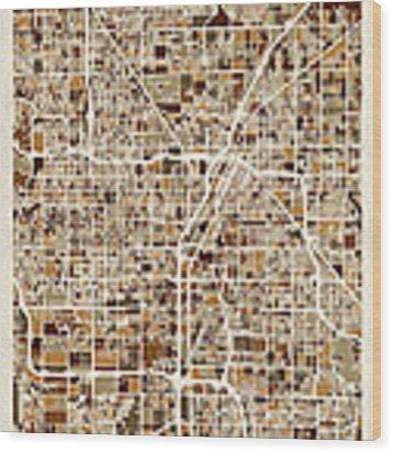 Las Vegas City Street Map Wood Print by Michael Tompsett
