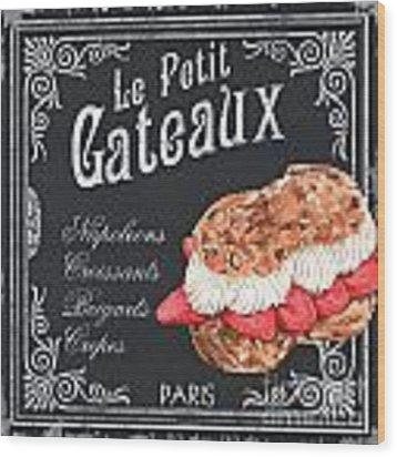 Le Petit Gateaux Wood Print by Debbie DeWitt