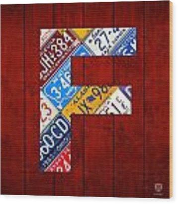 Letter F Alphabet Vintage License Plate Art Wood Print