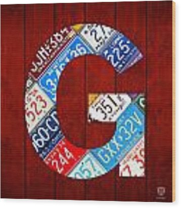 Letter G Alphabet Vintage License Plate Art Wood Print