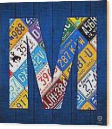 Letter M Alphabet Vintage License Plate Art Wood Print by Design Turnpike