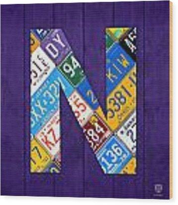 Letter N Alphabet Vintage License Plate Art Wood Print by Design Turnpike