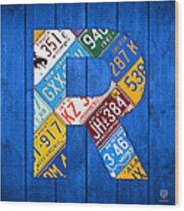 Letter R Alphabet Vintage License Plate Art Wood Print