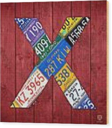 Letter X Alphabet Vintage License Plate Art Wood Print