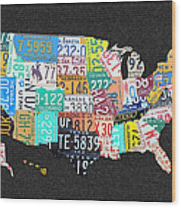 License Plate Map Of The United States On Gray Felt With Black Box Frame Edition 14 Wood Print