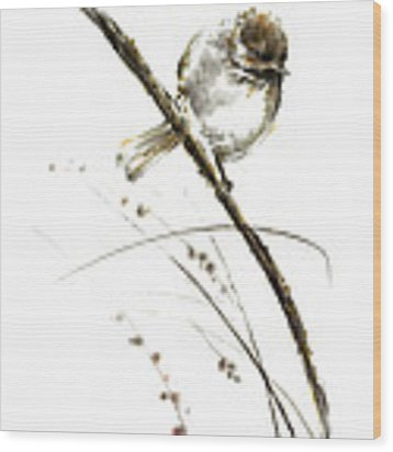 Little Bird On Branch Watercolor Original Ink Painting Artwork Wood Print