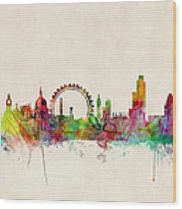 London Skyline Watercolour Wood Print