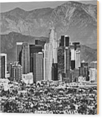 Los Angeles California Skyline - Black And White Wood Print by Gregory Ballos