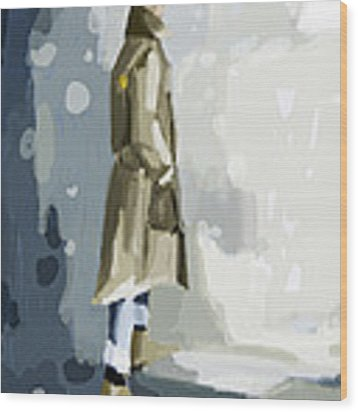 Man In A Trench Coat Fashion Illustration Art Print Wood Print by Beverly Brown