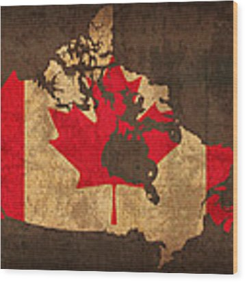 Map Of Canada With Flag Art On Distressed Worn Canvas Wood Print
