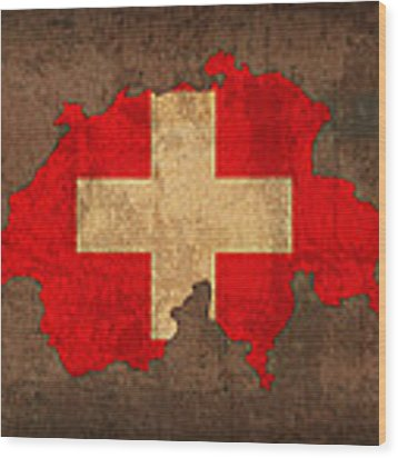 Map Of Switzerland With Flag Art On Distressed Worn Canvas Wood Print