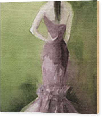 Mauve Evening Gown Fashion Illustration Art Print Wood Print by Beverly Brown