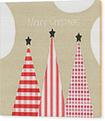 Merry Christmas With Red And White Trees Wood Print by Linda Woods