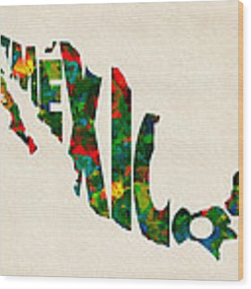 Mexico Typographic Watercolor Map Wood Print