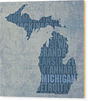 Michigan Great Lake State Word Art On Canvas Wood Print