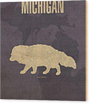 Michigan State Facts Minimalist Movie Poster Art  Wood Print
