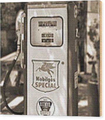 Mobilgas Special - Tokheim Pump  - Sepia Wood Print