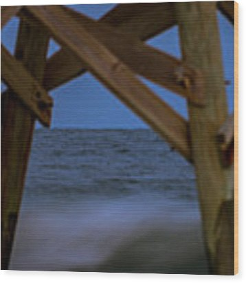 Moon Rise Under Pier Wood Print by Francis Trudeau