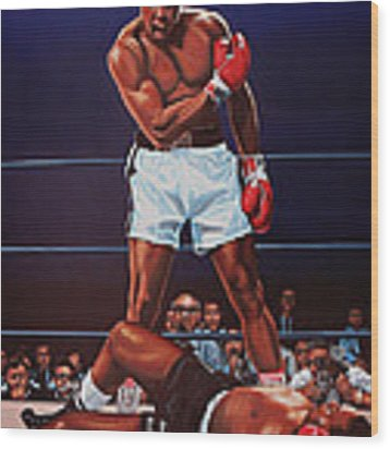 Muhammad Ali Versus Sonny Liston Wood Print by Paul Meijering
