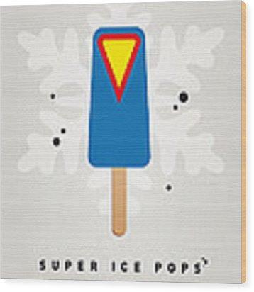 My Superhero Ice Pop - Superman Wood Print