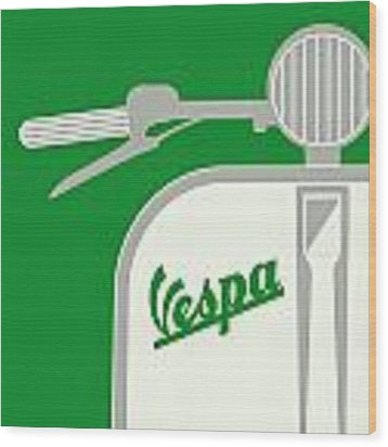 My Vespa - From Italy With Love - Green Wood Print