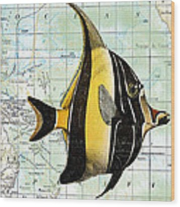 Nautical Journey-h Wood Print by Jean Plout