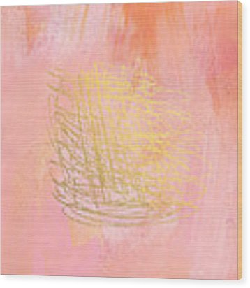 Nest- Pink And Gold Abstract Art Wood Print by Linda Woods