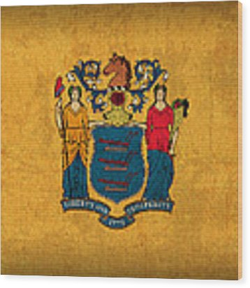 New Jersey State Flag Art On Worn Canvas Wood Print