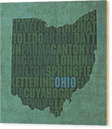 Ohio State Word Art On Canvas Wood Print