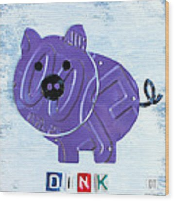 Oink The Pig License Plate Art Wood Print