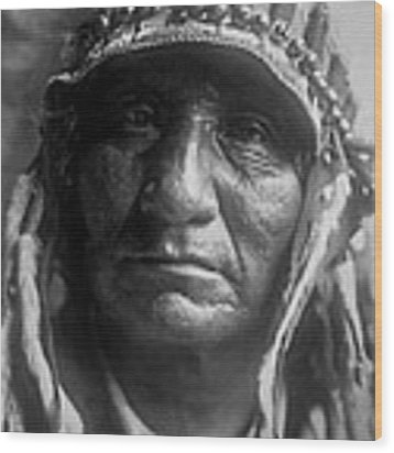 Old Oglala Man Circa 1907 Wood Print by Aged Pixel