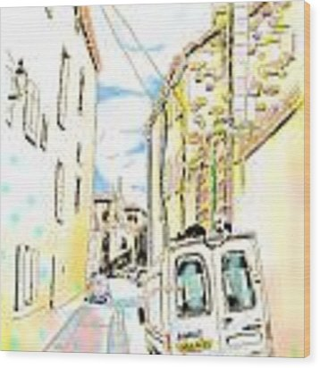 Old Town Alley Wood Print by Hisayo Ohta