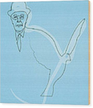 Oneline Magritte Wood Print