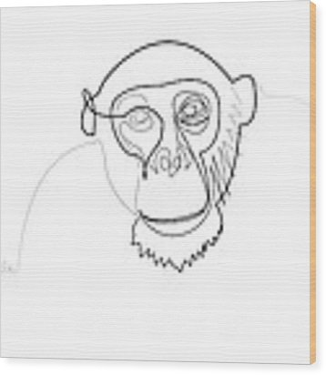 Oneline Monkey Wood Print by Quibe Sarl