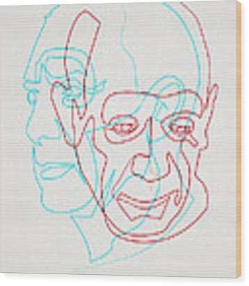 oneline Picasso Wood Print by Quibe Sarl