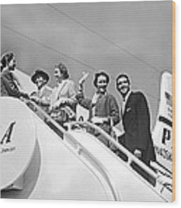 Passengers Board Panam Clipper Wood Print by Underwood Archives