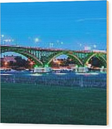 Peace Bridge Looking East Wood Print by Rosemary Legge