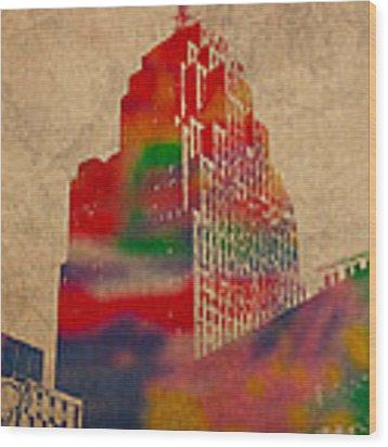Penobscot Building Iconic Buildings Of Detroit Watercolor On Worn Canvas Series Number 5 Wood Print