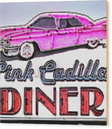 Pink Cadillac Diner Wood Print