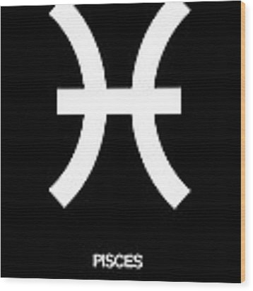 Pisces Zodiac Sign White And Black Wood Print